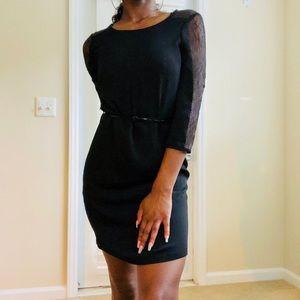 Calvin Klein Little Black Dress w/ Lace Sleeve